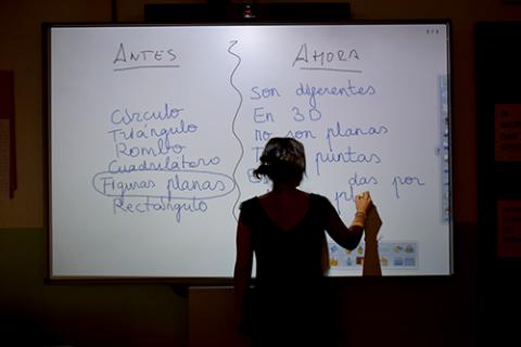 Pizarras digitales durante una clase